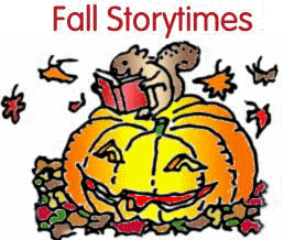 Fall Storytimes squirrel reading a book sitting on top of a jack o'lantern with fall leaves